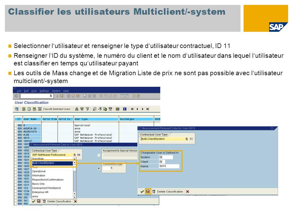 Classifier les utilisateurs Multiclient/-system Selectionner l'utilisateur et renseigner le type d'utilisateur contractuel, ID 11 Renseigner l'ID du système, le numéro du client et le nom d'utilisateur dans lequel l'utilisateur est classifier en temps qu'utilisateur payant Les outils de Mass change et de Migration Liste de prix ne sont pas possible avec l'utilisateur multiclient/-system