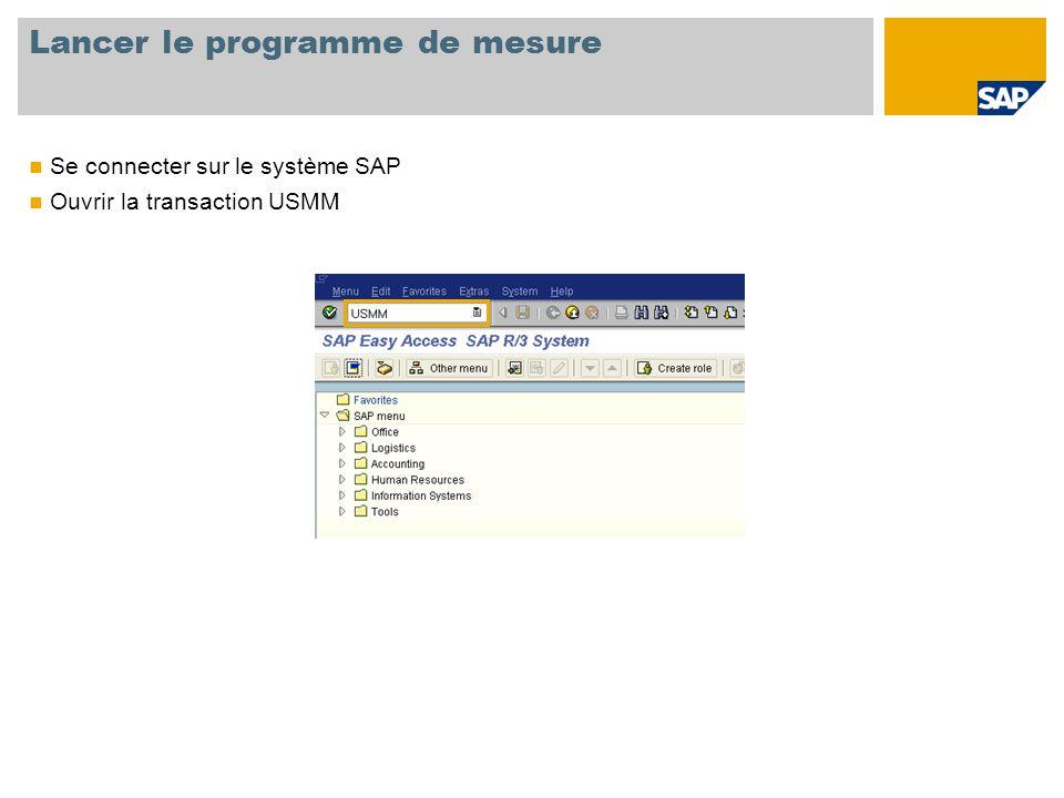 Lancer le programme de mesure Se connecter sur le système SAP Ouvrir la transaction USMM