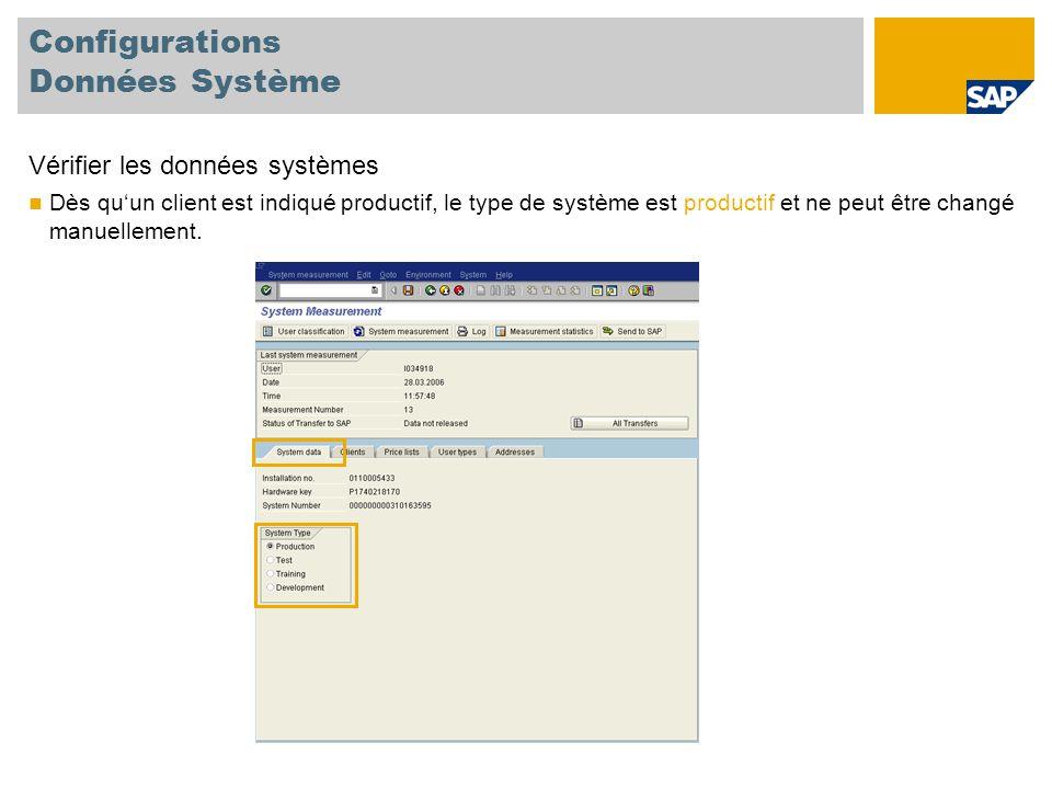 Configurations Données Système Vérifier les données systèmes Dès qu'un client est indiqué productif, le type de système est productif et ne peut être changé manuellement.
