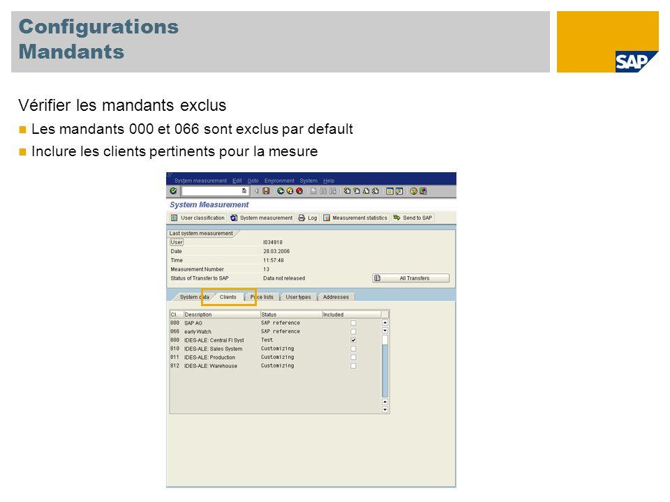 Configurations Mandants Vérifier les mandants exclus Les mandants 000 et 066 sont exclus par default Inclure les clients pertinents pour la mesure
