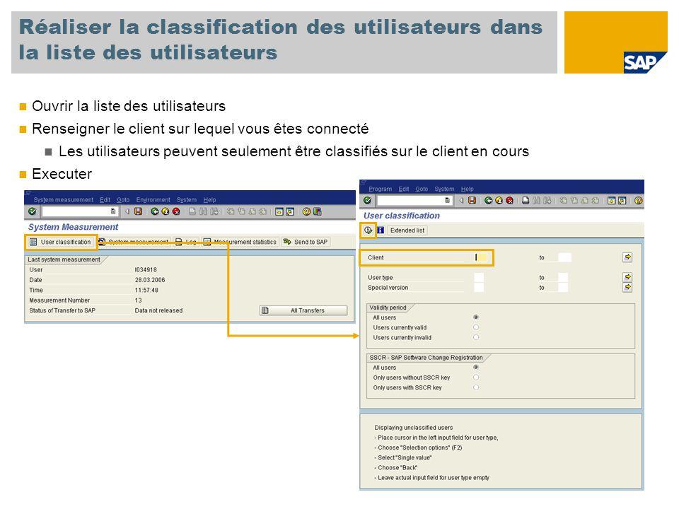 Réaliser la classification des utilisateurs dans la liste des utilisateurs Ouvrir la liste des utilisateurs Renseigner le client sur lequel vous êtes connecté Les utilisateurs peuvent seulement être classifiés sur le client en cours Executer