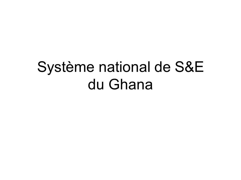 Système de S&E du Ghana Point de départ : Stratégie pour la croissance et la réduction de la pauvreté (SCRP II) Décrit les priorités de développement nationales qui s'articulent autour de trois piliers : –Stabilité macroéconomique et compétitivité du secteur privé –Développement des ressources humaines –Bonne gouvernance et responsabilité civique 159 indicateurs « clés » couvrant les trois piliers et sélectionnés à partir des cadres de S&E sectoriels