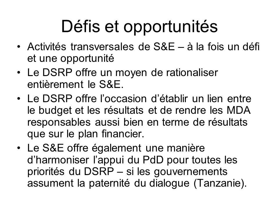 Défis et opportunités Activités transversales de S&E – à la fois un défi et une opportunité Le DSRP offre un moyen de rationaliser entièrement le S&E.