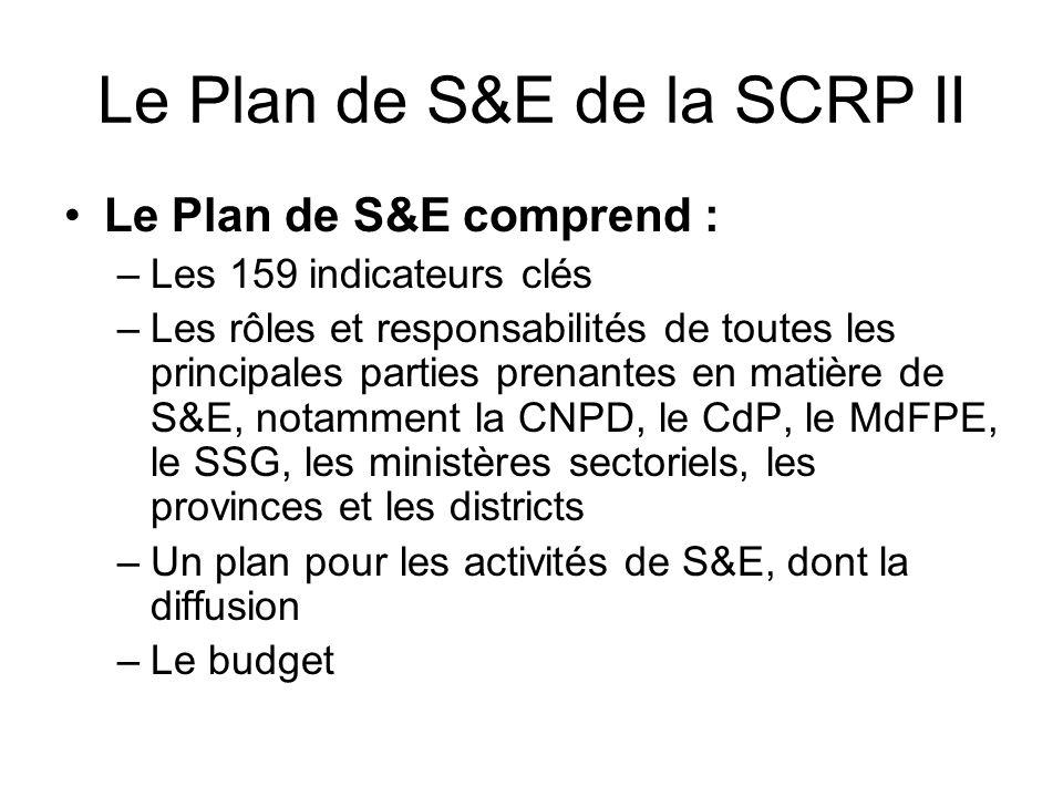 Le Plan de S&E de la SCRP II Le Plan de S&E comprend : –Les 159 indicateurs clés –Les rôles et responsabilités de toutes les principales parties prenantes en matière de S&E, notamment la CNPD, le CdP, le MdFPE, le SSG, les ministères sectoriels, les provinces et les districts –Un plan pour les activités de S&E, dont la diffusion –Le budget