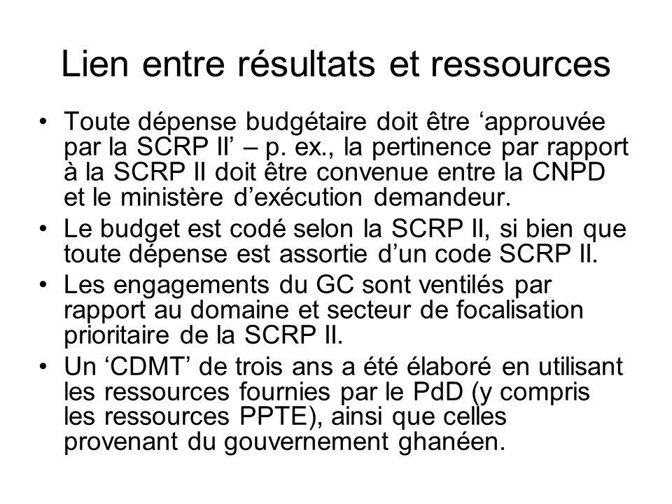 Lien entre résultats et ressources Toute dépense budgétaire doit être 'approuvée par la SCRP II' – p.