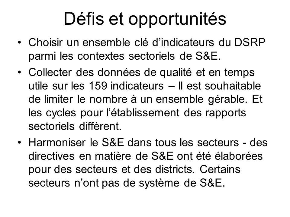 Défis et opportunités S'orienter vers les approches sectorielles (SWAp) pour que les PdD puissent utiliser les systèmes de S&E sectoriels (pas des projets de PdD) et que l'appui apporté au S&E soit en faveur du secteur.