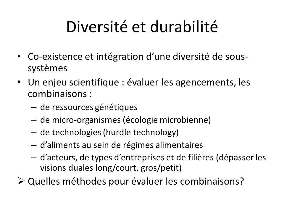 Diversité et durabilité Co-existence et intégration d'une diversité de sous- systèmes Un enjeu scientifique : évaluer les agencements, les combinaisons : – de ressources génétiques – de micro-organismes (écologie microbienne) – de technologies (hurdle technology) – d'aliments au sein de régimes alimentaires – d'acteurs, de types d'entreprises et de filières (dépasser les visions duales long/court, gros/petit)  Quelles méthodes pour évaluer les combinaisons
