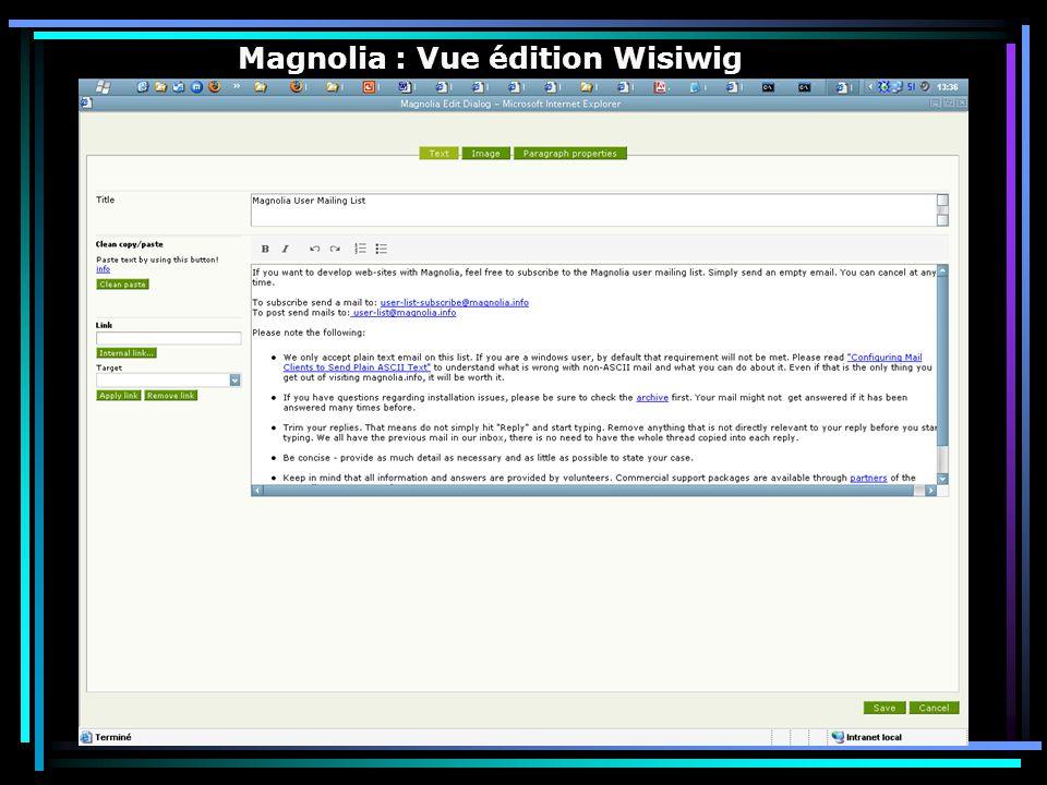 Magnolia : Vue édition Wisiwig