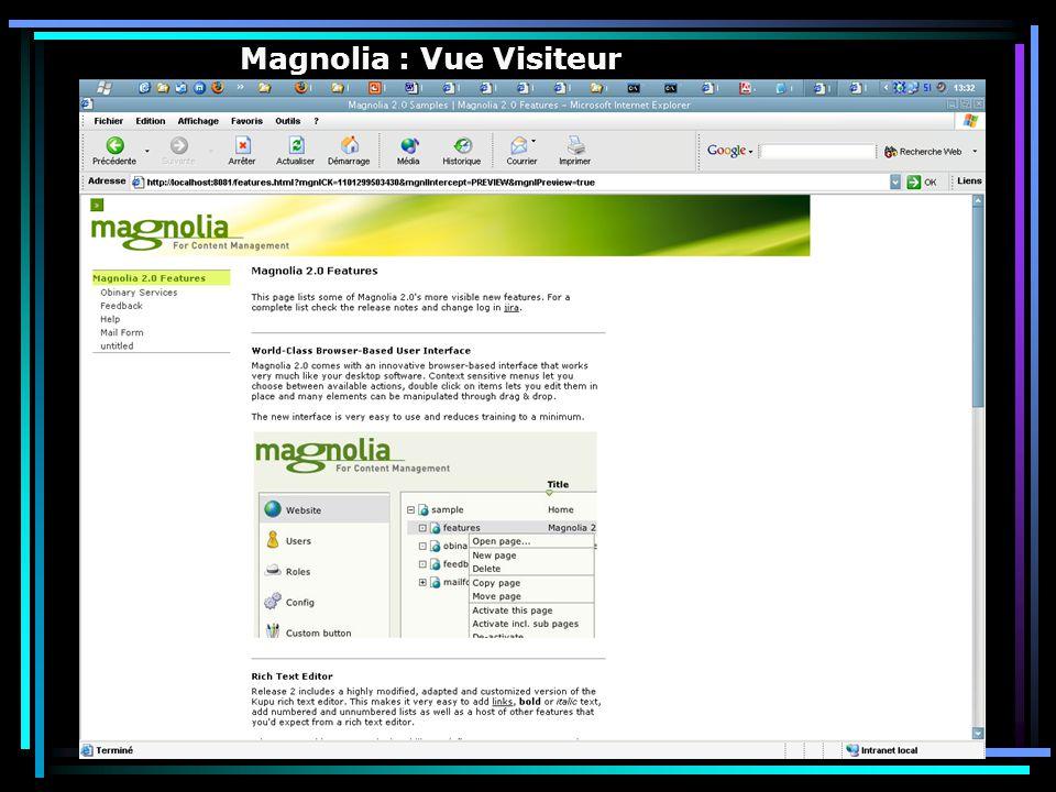 Magnolia : Vue Visiteur