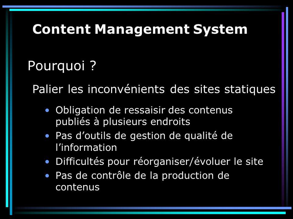 Solutions existantes : Évolution difficile -> le contenant n'est pas modifiable directement Content Management System Utilisation de base de données par des scripts php/asp/jsp… Utilisation d'XML