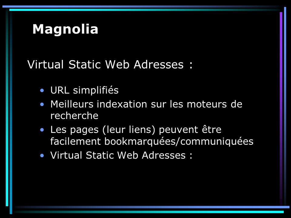 Virtual Static Web Adresses : URL simplifiés Meilleurs indexation sur les moteurs de recherche Les pages (leur liens) peuvent être facilement bookmarq