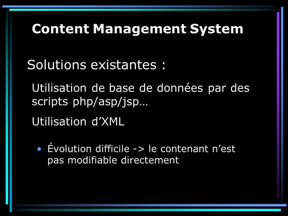 Solutions existantes : Évolution difficile -> le contenant n'est pas modifiable directement Content Management System Utilisation de base de données p