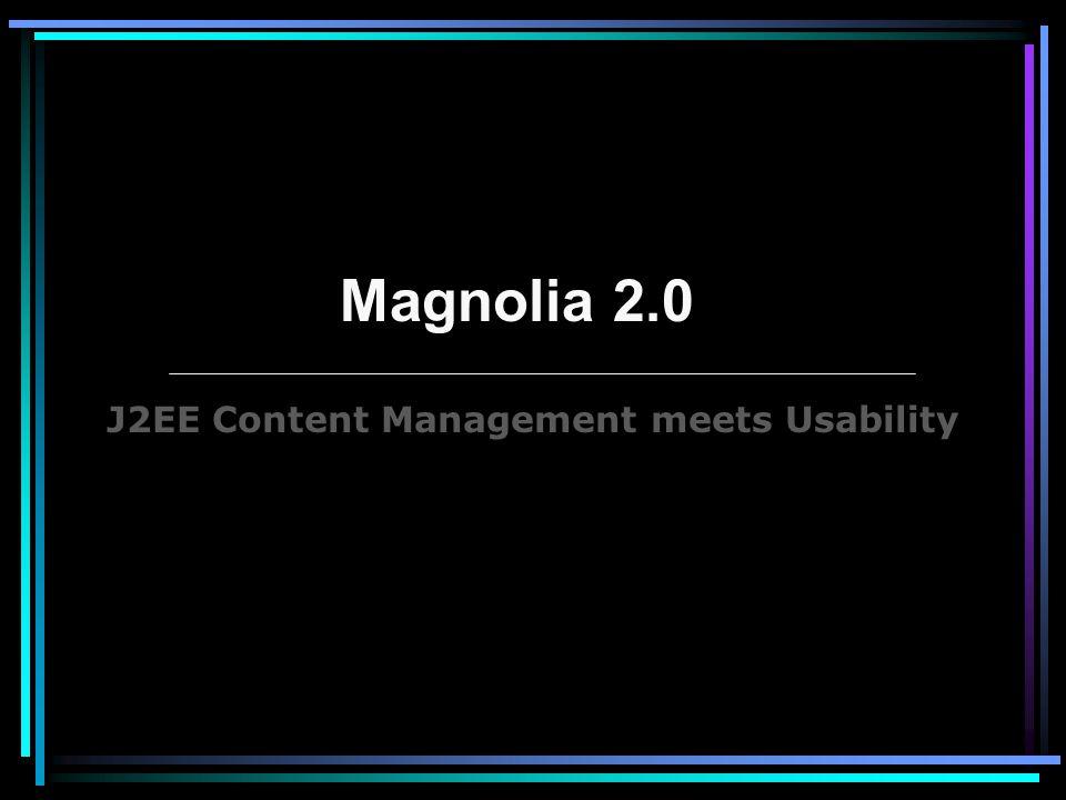 Spécificités : CMS Open Source –Pas de coût de licence –Pas de coût de mise à jour du produit –Création de nouvelles fonctions Utilise Java & XML pour fonctionner - Utilisation de standards (J2EE, JCR, Java, JSP, JSTL, HTML) Utilise la Java Specification Requests 170 : Content Repository for Java : JCR - Compatible avec toutes les BD du marché Magnolia