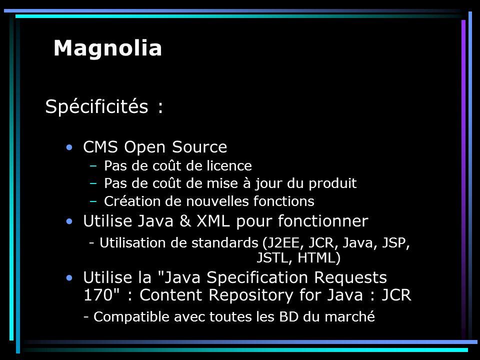 Spécificités : CMS Open Source –Pas de coût de licence –Pas de coût de mise à jour du produit –Création de nouvelles fonctions Utilise Java & XML pour