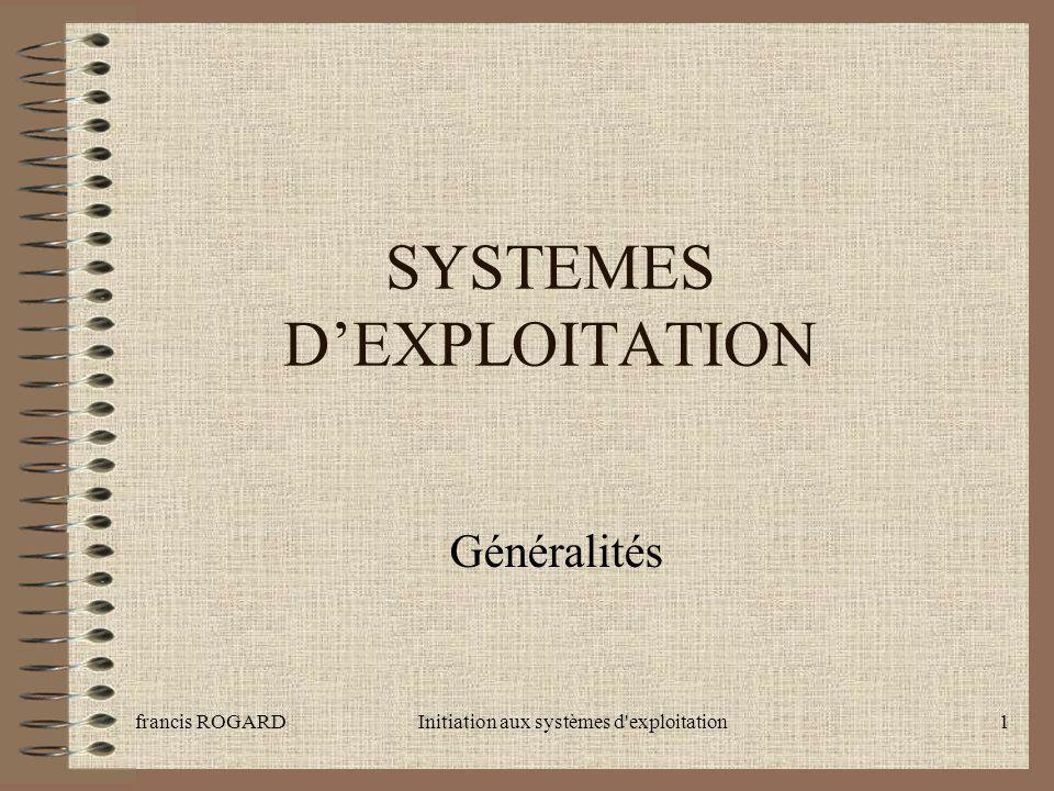 francis ROGARDInitiation aux systèmes d exploitation12 Typologie des systèmes SystèmeCodageMulti- utilisateurs Multi tâches DOS16 bitsnon Windows 95/98 32 bitsnoncoopératif Windows NT/2000 32 bitsouipréemptif