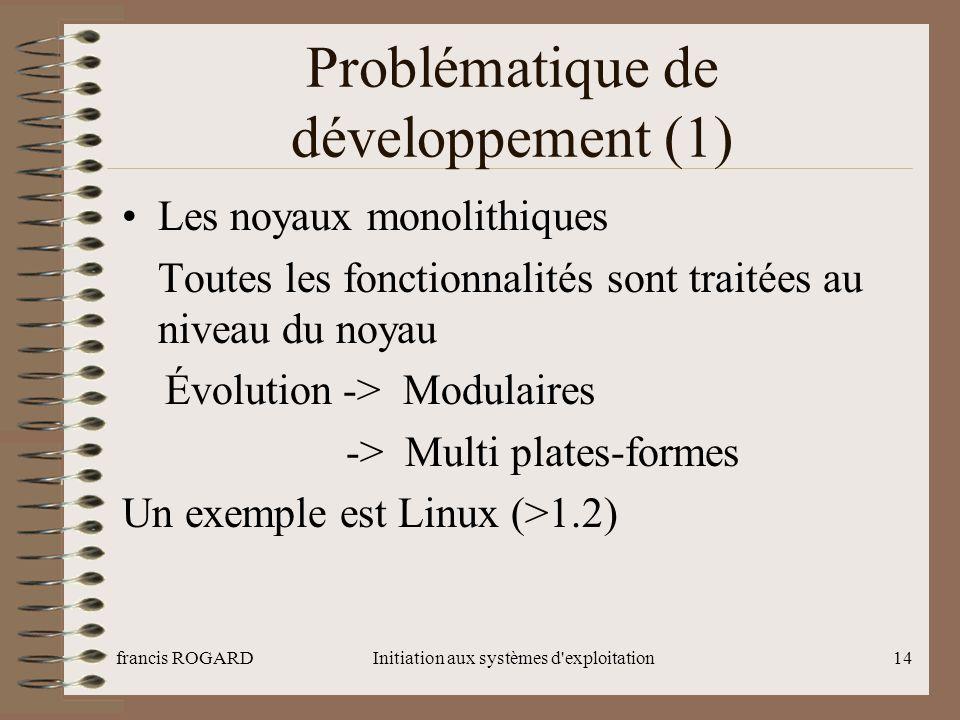 francis ROGARDInitiation aux systèmes d'exploitation14 Problématique de développement (1) Les noyaux monolithiques Toutes les fonctionnalités sont tra