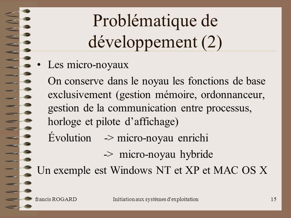 francis ROGARDInitiation aux systèmes d'exploitation15 Problématique de développement (2) Les micro-noyaux On conserve dans le noyau les fonctions de