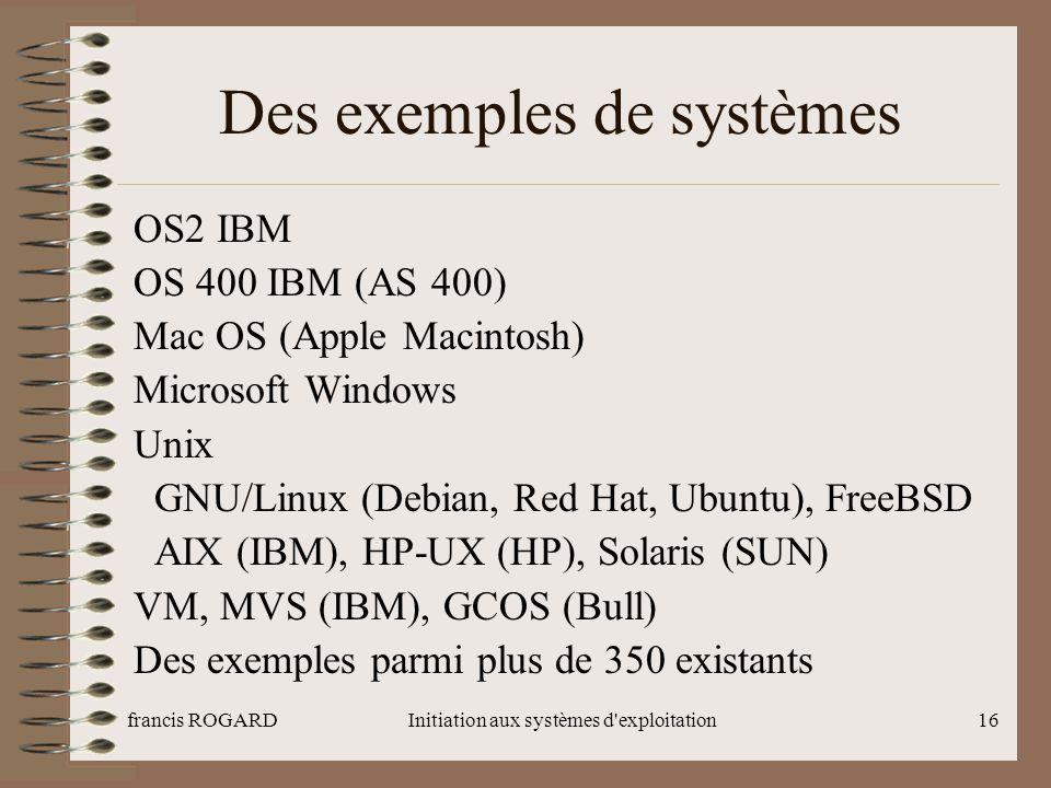 francis ROGARDInitiation aux systèmes d'exploitation16 Des exemples de systèmes OS2 IBM OS 400 IBM (AS 400) Mac OS (Apple Macintosh) Microsoft Windows