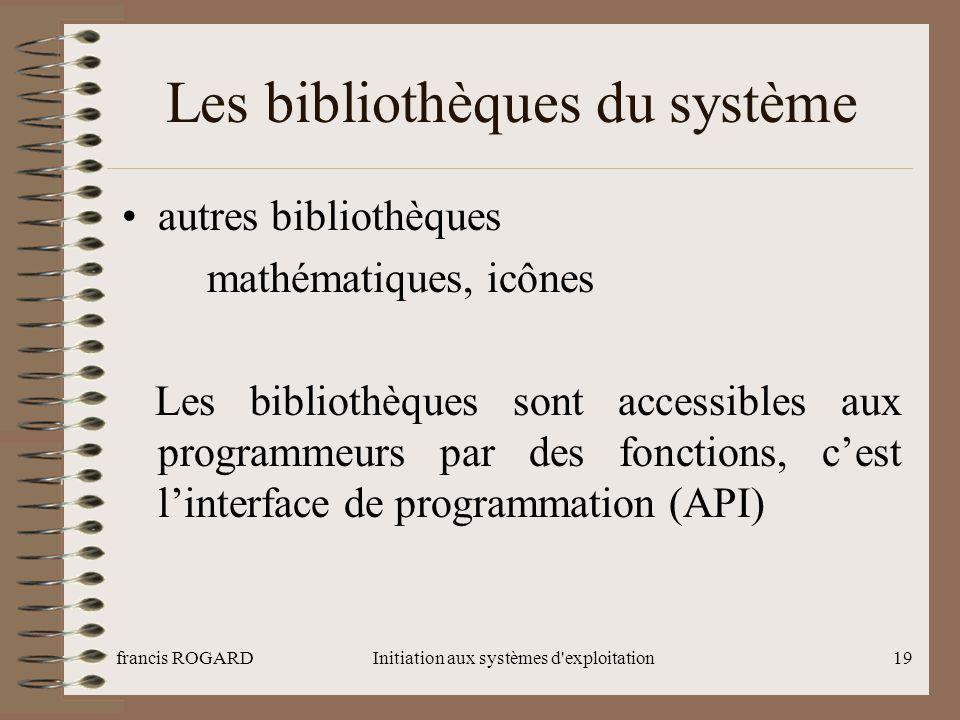 francis ROGARDInitiation aux systèmes d'exploitation19 Les bibliothèques du système autres bibliothèques mathématiques, icônes Les bibliothèques sont