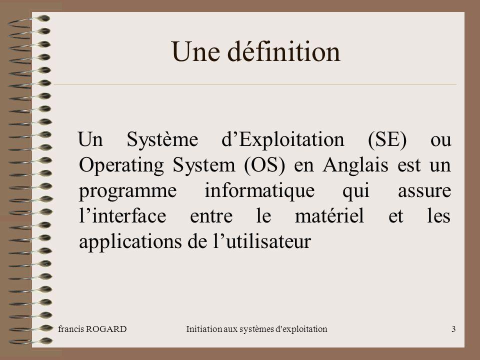 francis ROGARDInitiation aux systèmes d exploitation14 Problématique de développement (1) Les noyaux monolithiques Toutes les fonctionnalités sont traitées au niveau du noyau Évolution -> Modulaires -> Multi plates-formes Un exemple est Linux (>1.2)
