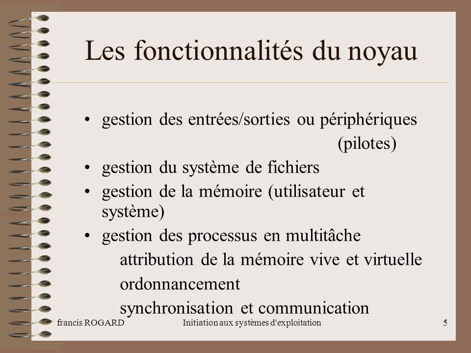francis ROGARDInitiation aux systèmes d'exploitation5 Les fonctionnalités du noyau gestion des entrées/sorties ou périphériques (pilotes) gestion du s