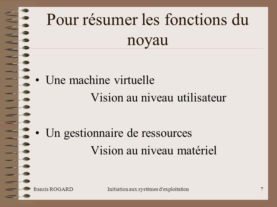 francis ROGARDInitiation aux systèmes d exploitation8 Architecture Voir le fichier Architecture générale
