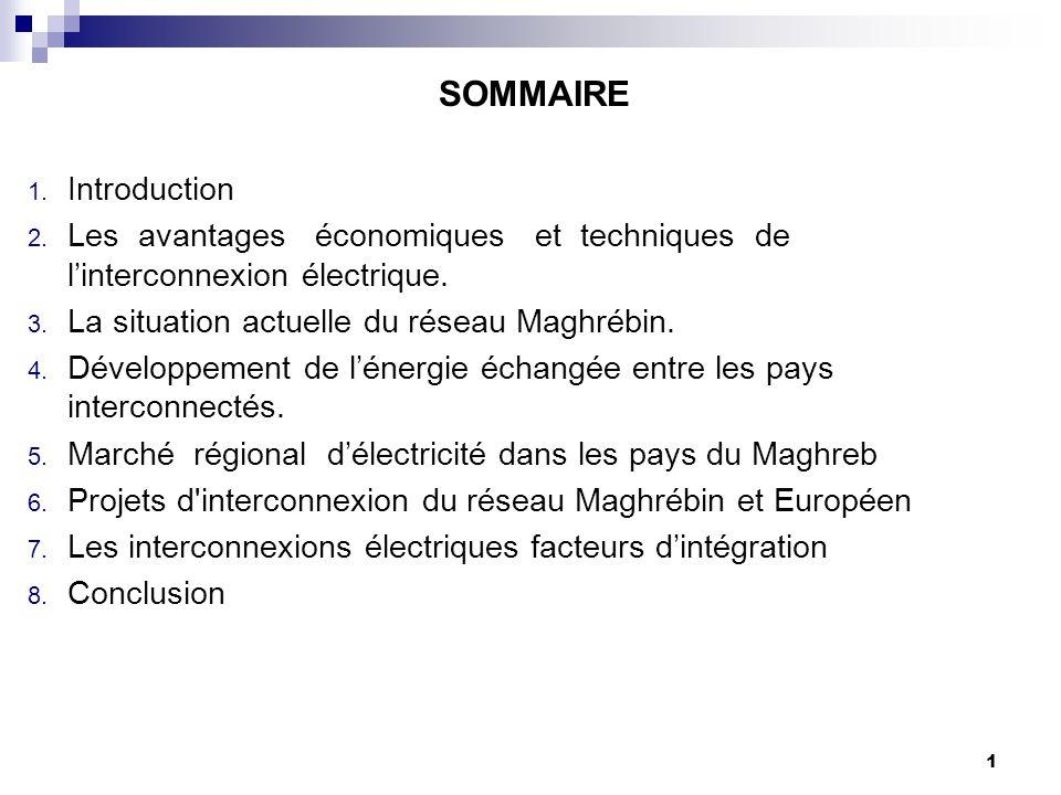 1 SOMMAIRE 1. Introduction 2. Les avantages économiques et techniques de l'interconnexion électrique. 3. La situation actuelle du réseau Maghrébin. 4.