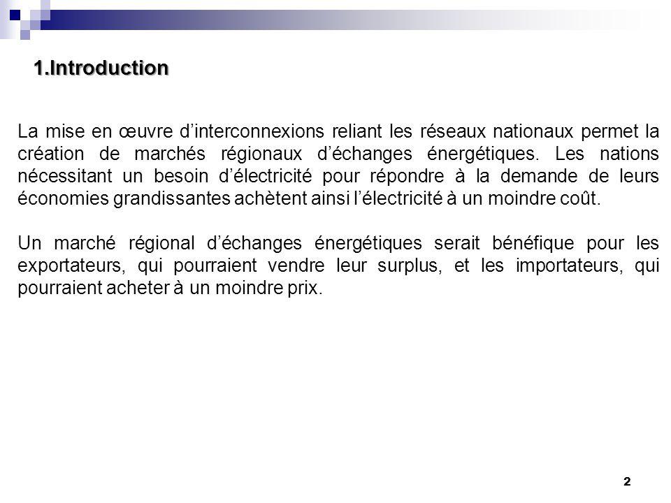 1.Introduction 2 La mise en œuvre d'interconnexions reliant les réseaux nationaux permet la création de marchés régionaux d'échanges énergétiques. Les