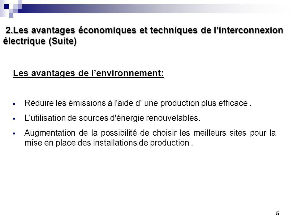 5 2.Les avantages économiques et techniques de l'interconnexion électrique (Suite) 2.Les avantages économiques et techniques de l'interconnexion élect