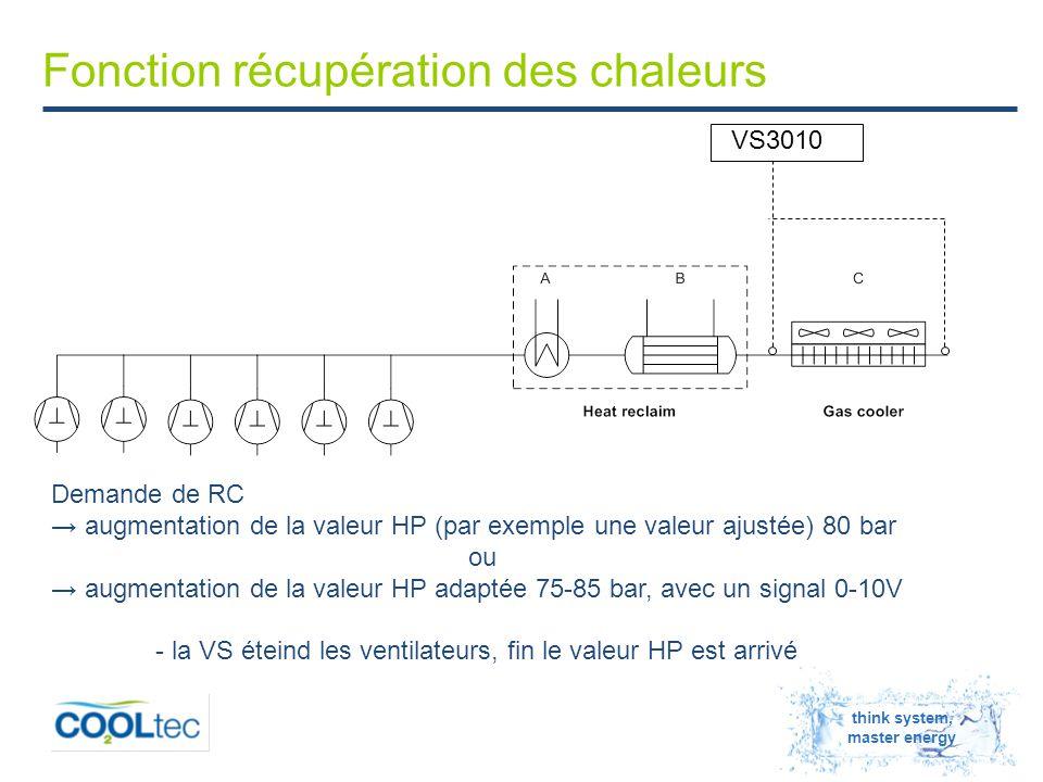 think system, master energy Fonction récupération des chaleurs VS3010 Demande de RC → augmentation de la valeur HP (par exemple une valeur ajustée) 80 bar ou → augmentation de la valeur HP adaptée 75-85 bar, avec un signal 0-10V - la VS éteind les ventilateurs, fin le valeur HP est arrivé