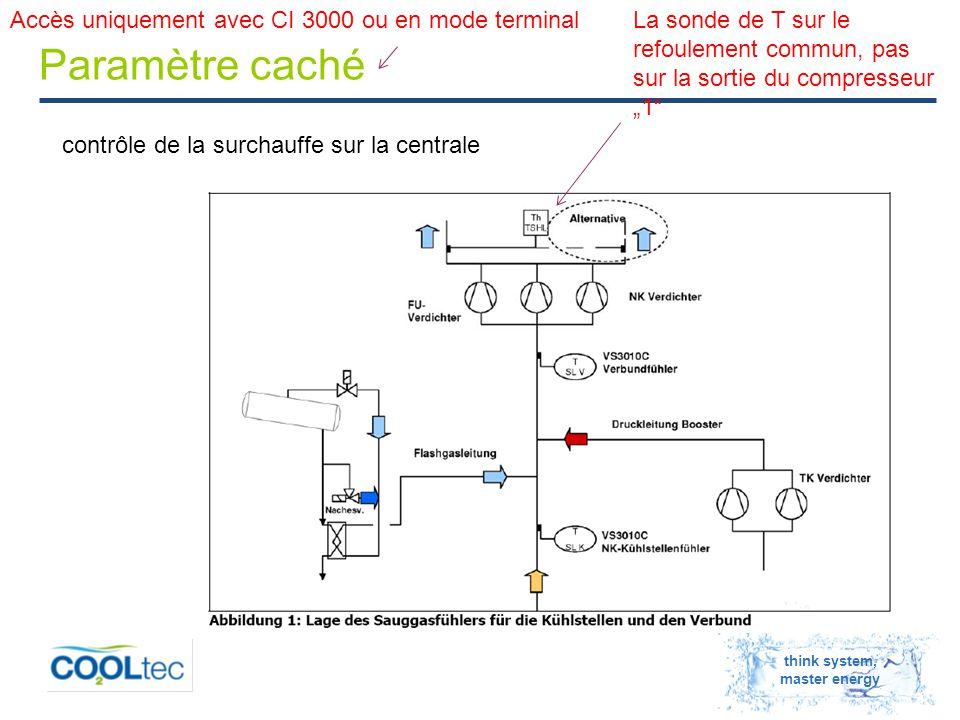 """think system, master energy Paramètre caché contrôle de la surchauffe sur la centrale La sonde de T sur le refoulement commun, pas sur la sortie du compresseur """"1 Accès uniquement avec CI 3000 ou en mode terminal"""