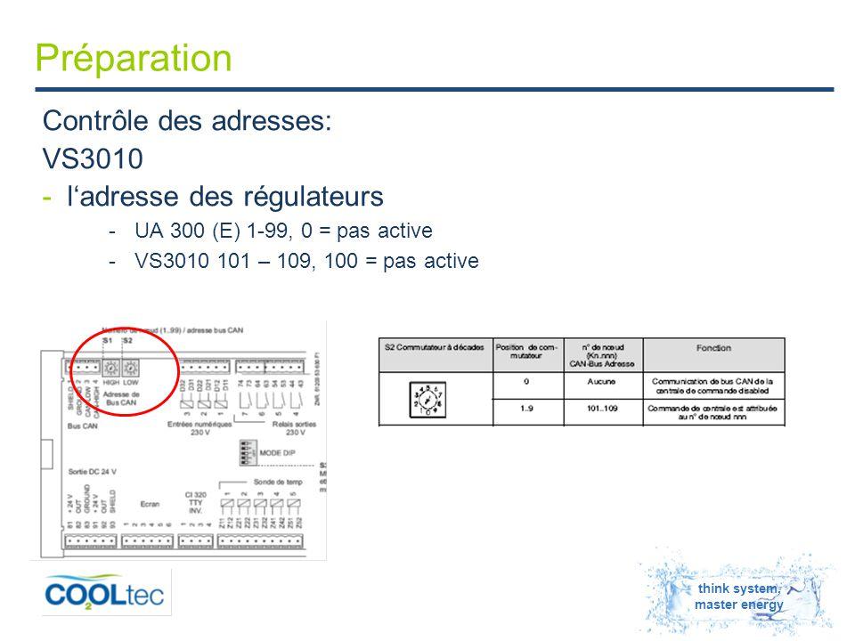 think system, master energy Préparation Contrôle des adresses: VS3010 -l'adresse des régulateurs -UA 300 (E) 1-99, 0 = pas active -VS3010 101 – 109, 100 = pas active
