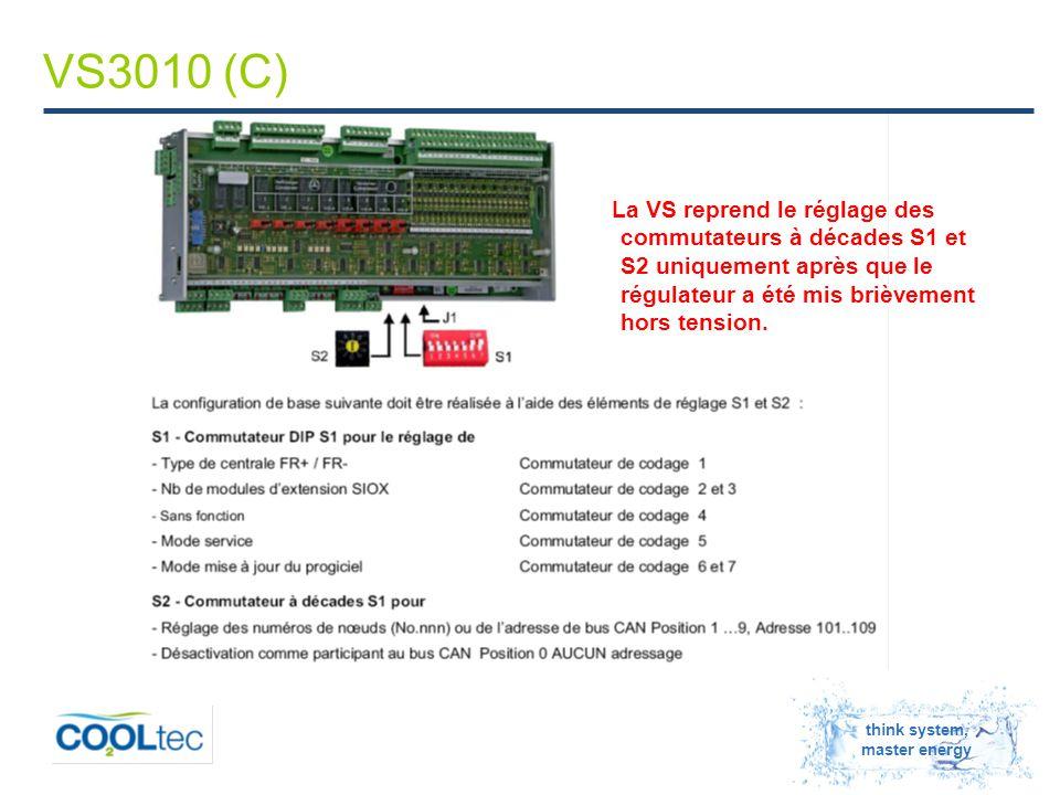 think system, master energy VS3010 (C) La VS reprend le réglage des commutateurs à décades S1 et S2 uniquement après que le régulateur a été mis brièvement hors tension.