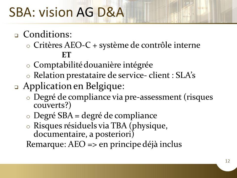 12 SBA: vision AG D&A  Conditions: o Critères AEO-C + système de contrôle interne ET o Comptabilité douanière intégrée o Relation prestataire de service- client : SLA's  Application en Belgique: o Degré de compliance via pre-assessment (risques couverts?) o Degré SBA = degré de compliance o Risques résiduels via TBA (physique, documentaire, a posteriori) Remarque: AEO => en principe déjà inclus