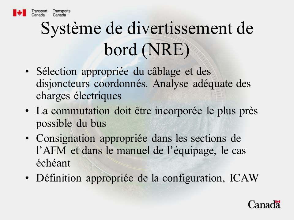 Système de divertissement de bord (NRE) Sélection appropriée du câblage et des disjoncteurs coordonnés. Analyse adéquate des charges électriques La co