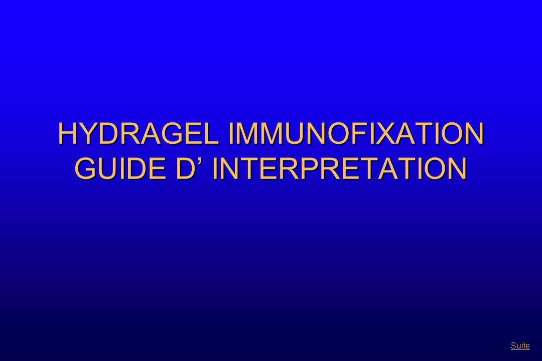 HYDRAGEL IMMUNOFIXATION GUIDE D' INTERPRETATION Suite