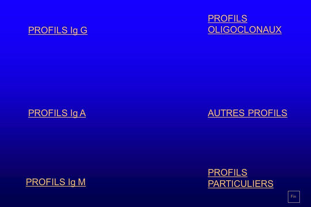 PROFILS Ig G PROFILS Ig A PROFILS Ig M PROFILS OLIGOCLONAUX AUTRES PROFILS PROFILS PARTICULIERS Fin