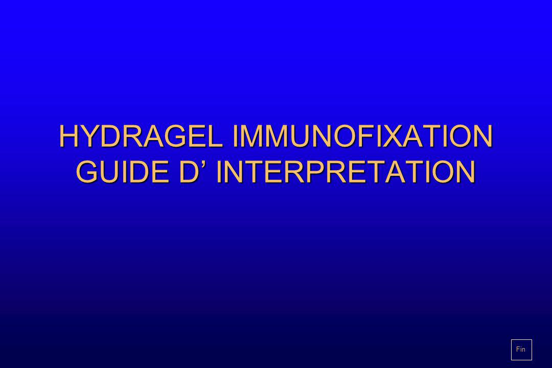 HYDRAGEL IMMUNOFIXATION GUIDE D' INTERPRETATION Fin