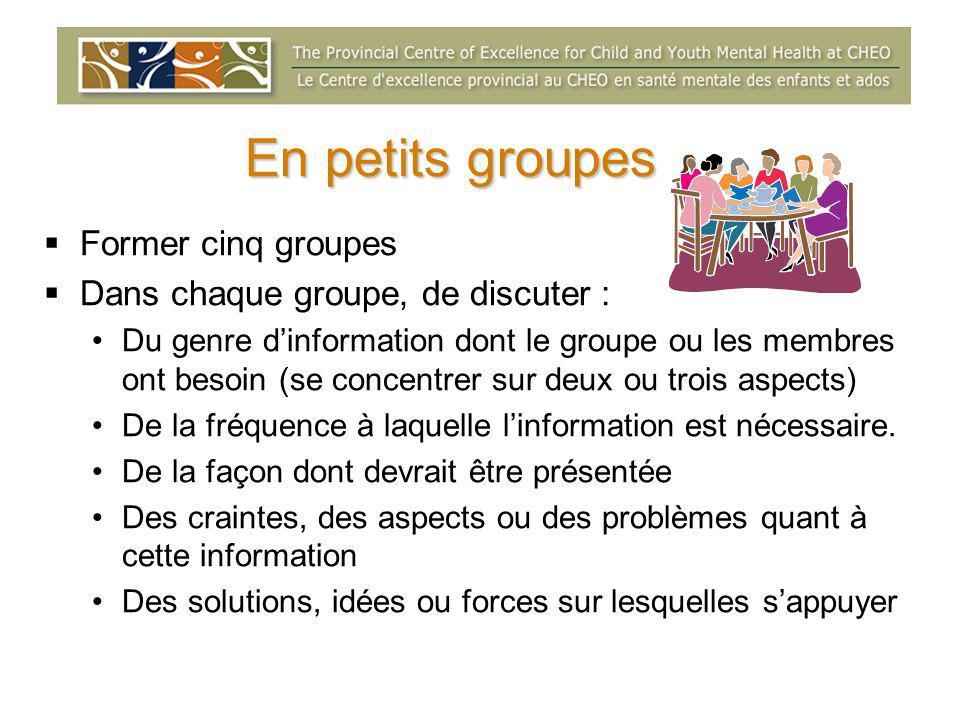En petits groupes  Former cinq groupes  Dans chaque groupe, de discuter : Du genre d'information dont le groupe ou les membres ont besoin (se concentrer sur deux ou trois aspects) De la fréquence à laquelle l'information est nécessaire.