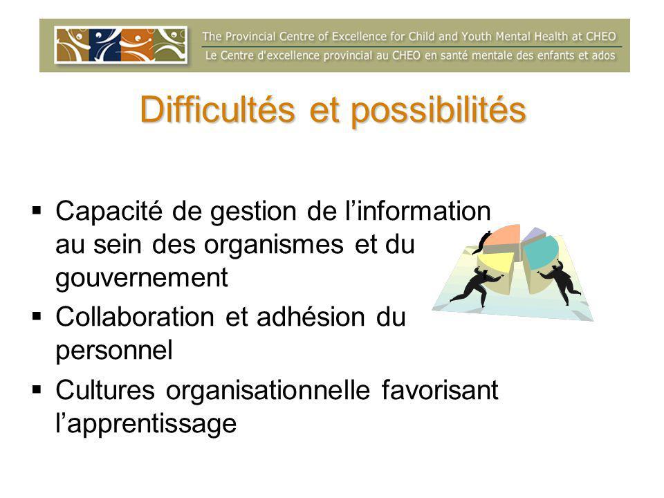 Difficultés et possibilités  Capacité de gestion de l'information au sein des organismes et du gouvernement  Collaboration et adhésion du personnel  Cultures organisationnelle favorisant l'apprentissage