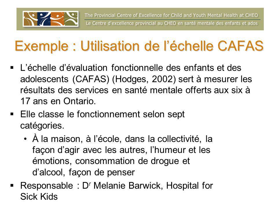 Exemple : Utilisation de l'échelle CAFAS  L'échelle d'évaluation fonctionnelle des enfants et des adolescents (CAFAS) (Hodges, 2002) sert à mesurer les résultats des services en santé mentale offerts aux six à 17 ans en Ontario.