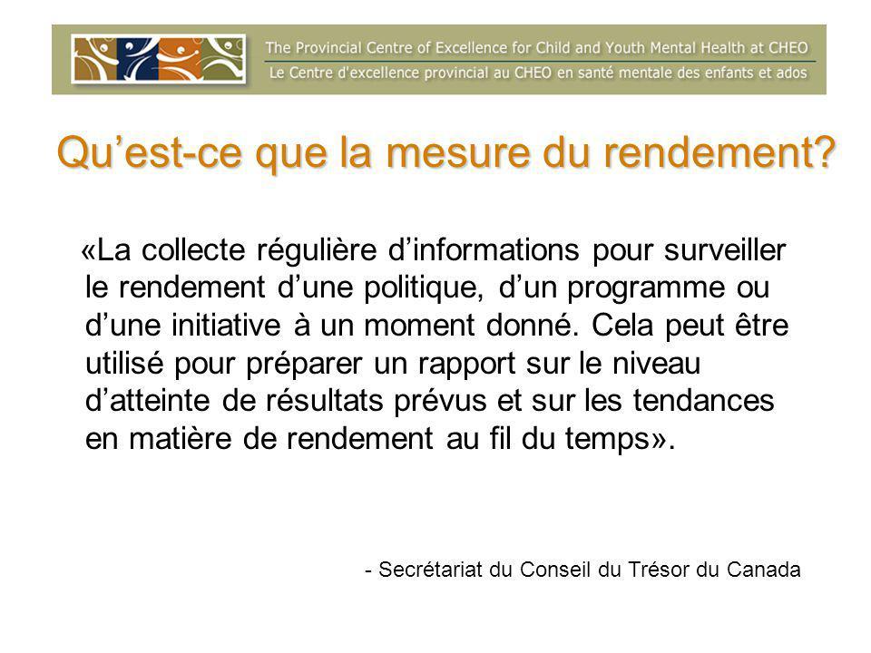 Qu'est-ce que la mesure du rendement? «La collecte régulière d'informations pour surveiller le rendement d'une politique, d'un programme ou d'une init