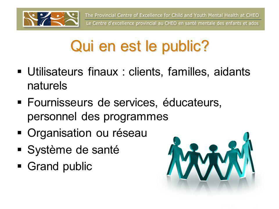 Qui en est le public?  Utilisateurs finaux : clients, familles, aidants naturels  Fournisseurs de services, éducateurs, personnel des programmes  O