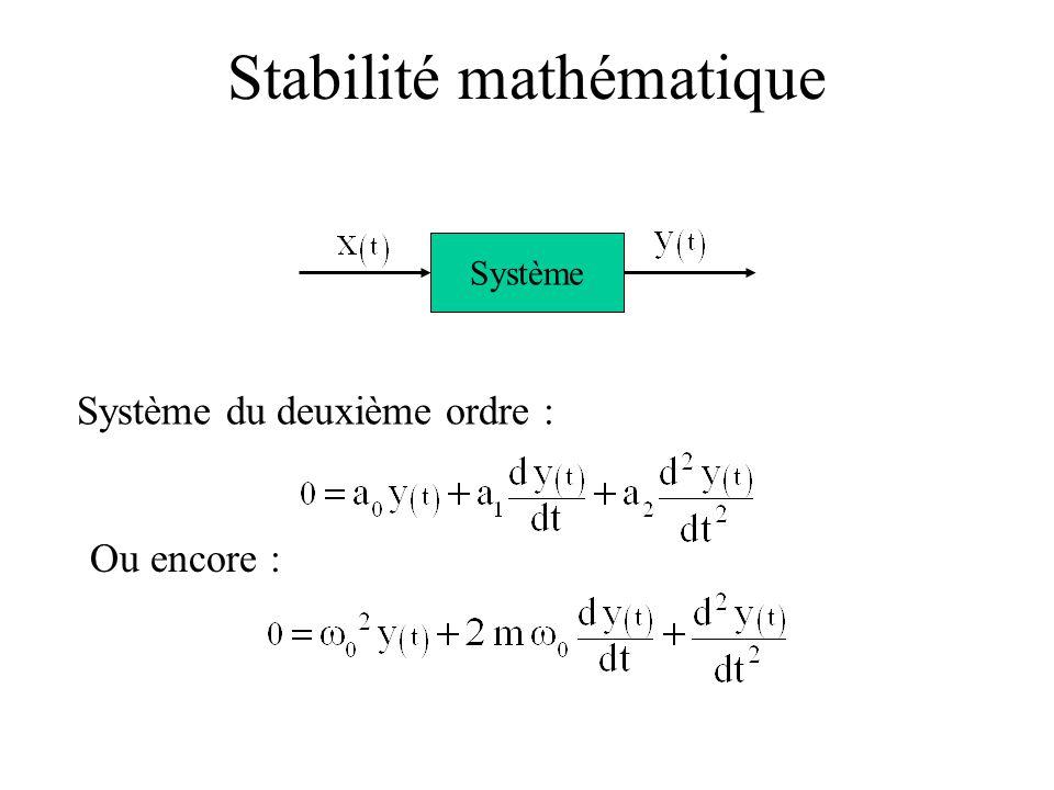 Système du deuxième ordre : Système Ou encore : Stabilité mathématique