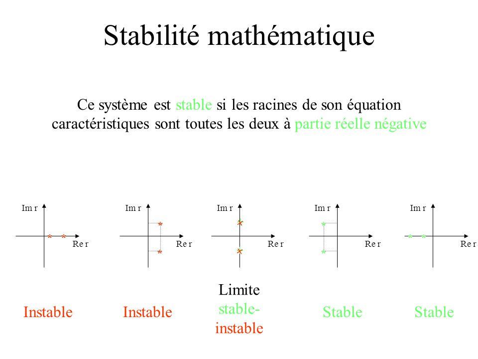Stabilité mathématique * * Im r Re r * * Im r Re r Im r Re r * * Im r Re r * * Im r Re r + + + + InstableStableInstableStable Limite stable- instable