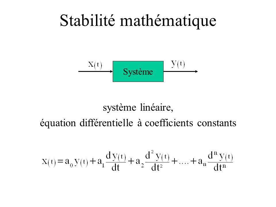 Stabilité mathématique système linéaire, équation différentielle à coefficients constants Système