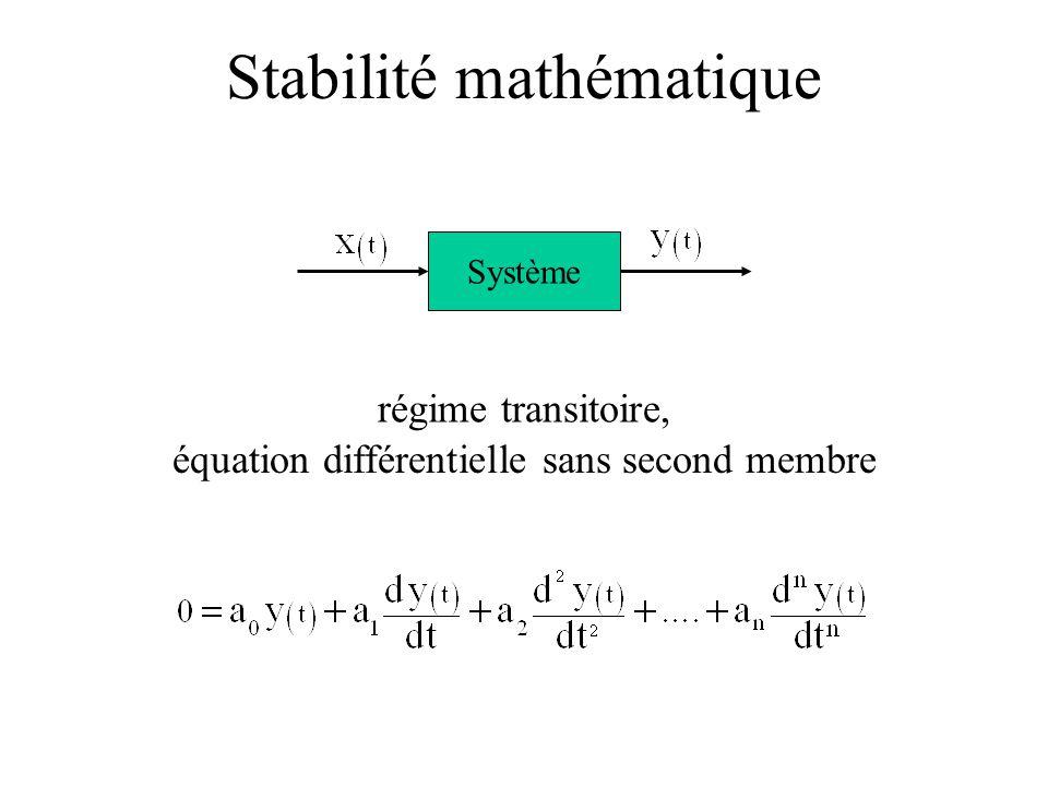 équation différentielle sans second membre régime transitoire, Système Stabilité mathématique