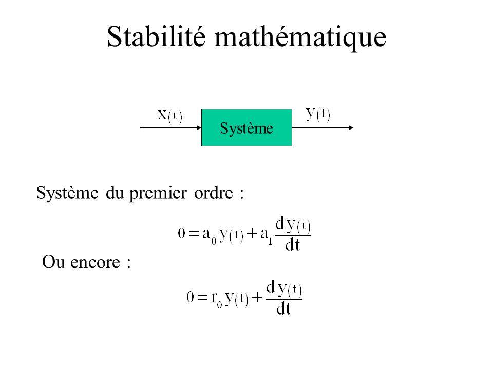 Système du premier ordre : Système Ou encore : Stabilité mathématique