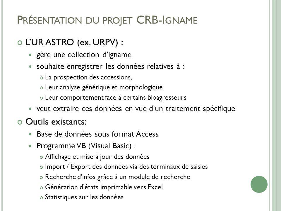 P RÉSENTATION DU PROJET CRB-I GNAME L'UR ASTRO (ex.