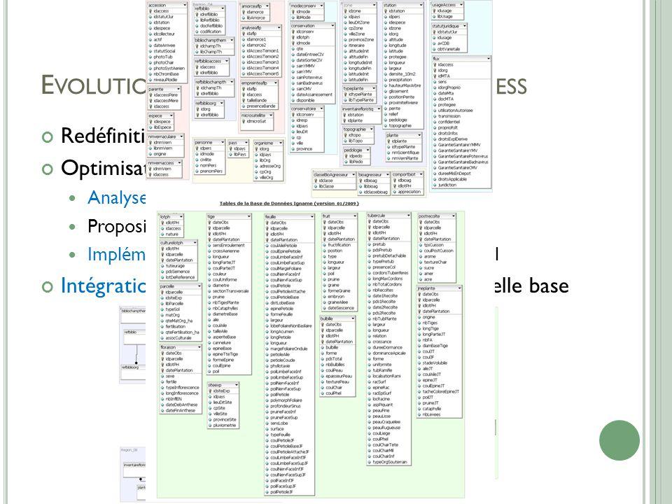 E VOLUTION DE LA BASE DE DONNÉES A CCESS Redéfinition des besoins Optimisation de la structure de la base Analyse de la base existante Proposition d'une nouvelle structure de base Implémentation de la nouvelle structure sous MySql Intégration des anciennes données dans la nouvelle base